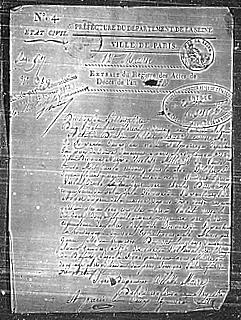 Extrait du registre de décès de Philibert Aspair
